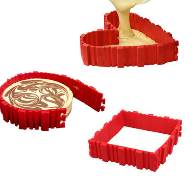 New Non-Stick First Ever Flexible Silicone Bottomless Baking Cake Tin Tray Bake Snakes x 4