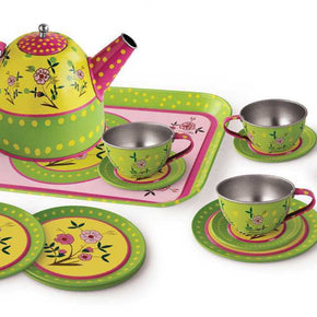 15PCS FLOWER TIN TEA SET