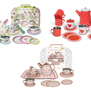 3 ASSORTED 15PCS TIN TEA SET IN CARRYCASE