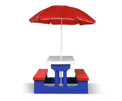 Keezi Kids Picnic Table Bench Set Children Umbrella Outdoor Chair - Elea Toys