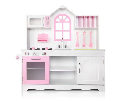 Keezi Kids Wooden Kitchen Play Set - White & Pink - Elea Toys