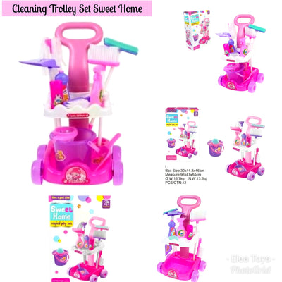 Kids Children Pretend Play Cleaning Trolley Set Sweet Home, Magical Play Set
