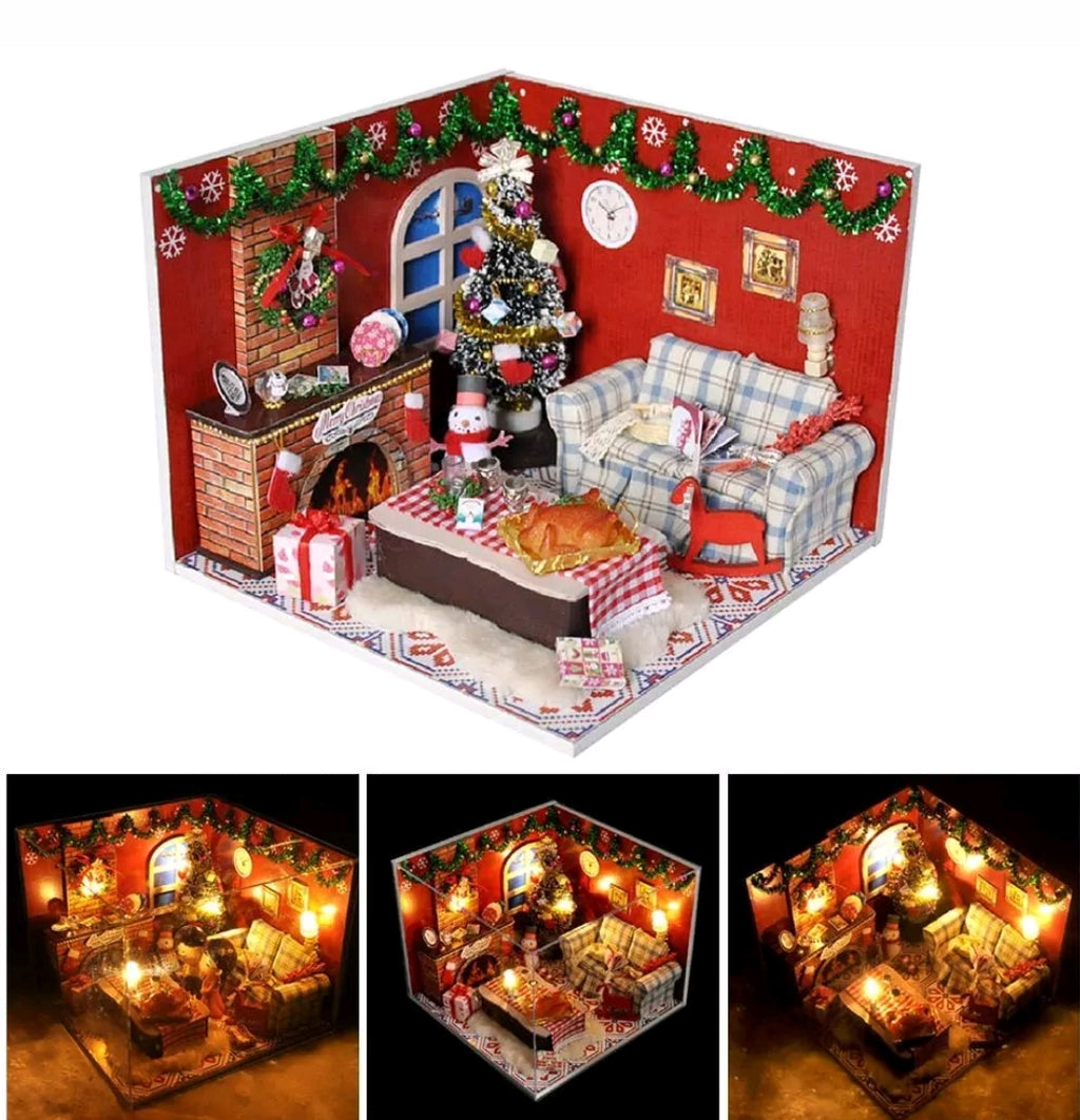 DIY Christmas Doll House Handcraft LED Wooden Dollhouse Mini Kits Room Furnitur