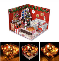 DIY Christmas Doll House Handcraft LED Wooden Dollhouse Mini Kits Room Furnitur - Elea Toys