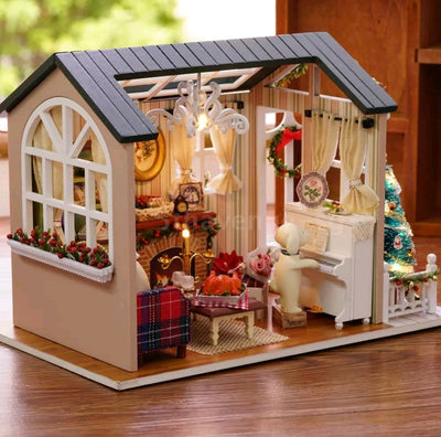 DIY miniature dollhouse with quite realistic sofa, piano, windows, lamp, cabinet, table, plants, etc. Christmas theme LED lights