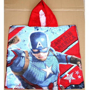 Kids 100% Cotton Hooded Bath Beach Towel Captain America