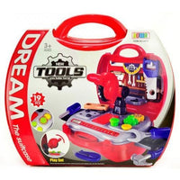 Baby Kids Builder Tools Toy Set Pretend Play Engineer Simulation Red Case