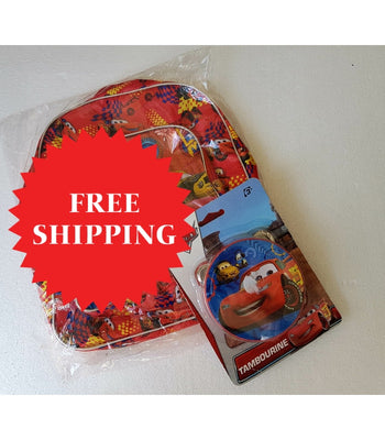 Disney Cars Mcqueen Backpack & Tabourine