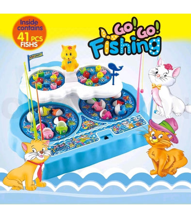 SUPER BIG Fishing Game Playset Activity Table Pretend Play Toys w/ Fishing Rod and Music.  - Elea Toys