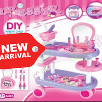 Girls Vanity Makeup Dressing Table Stool Playset Pretend Toy Kit W/ Wheels