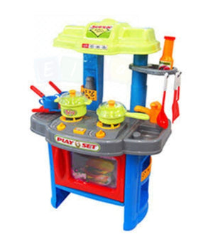New Kid Pretend Play Light & Sound Kitchen Cooking Stove Table Set - Blue