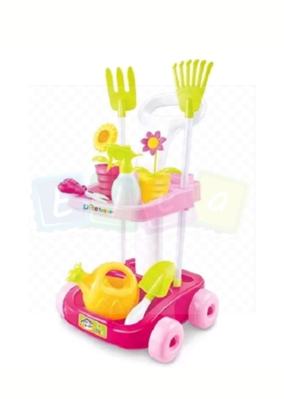 ♥POPULAR - 🎁LAST PIECES  IN STOCK🎁🛒NEW Kids Children Fun Bright Colours Pretend Play Garden  Tool Set Trolley Cart   - Elea Toys