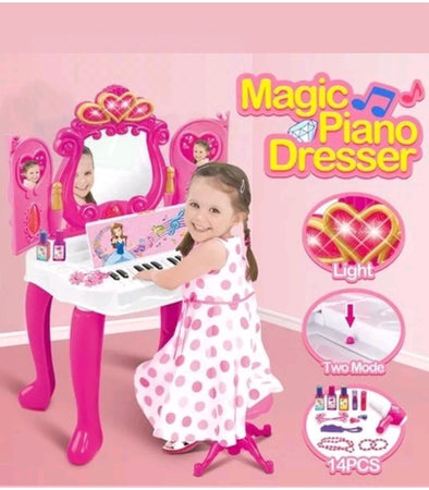 🎁Girl's Favourite Christmas Gift✔IN LIMITED STOCK🎁NEW Kids Fun Magic Piano Dressing Table Girls Makeup - Elea Toys