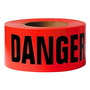 Barricade & Warning Tape (HEAVY-DUTY Poly) - Red Danger Tape - Case of 12