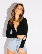 Button Up Top Black