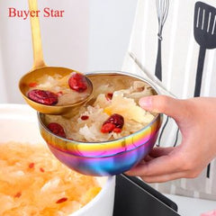 1PC Eco-Friendly Stainless Steel Round Bowl Rice Soup Double Hot Insulation Container Bowl Kitchen Tableware for Adult Children