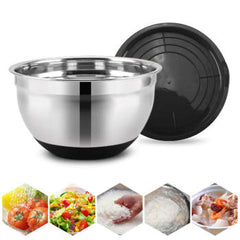 1pc 18/20/20CM Stainless Steel Bowl Anti-scald With Lid Non-Slip Easy Clean Kitchen Utensil Bowl