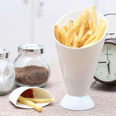 Portable Kitchen French Fries Cup with Dipping Cup Jam Dip Cup Salad Potato Tool Potato Chip Cone Holder Cups