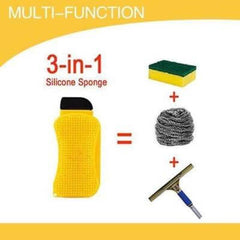 3 in 1 Multiuse Silicone Sponge Scraper Brush Kitchen Dishes Bath Wash Cleaner Cleaning Brushes