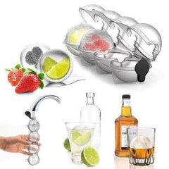 4 Cavity Ice Cube Maker Form For Ice Flexible Silicone Whiskey Cocktail DIY Round Ice Ball Ice Grid Party For Bar Kitchen Tool