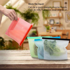 500ML 1000ML 1500ML 3000ML Silicone Resh-Keeping Bag Food Fruit Bread Cookies Vacuum Sealed Container for Refrigeration Storage Tools