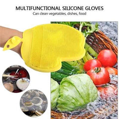 Magic Silicone Glove Heat Insulated Kitchen Dish Washing Gloves Multifunction Household Cleaning Brush
