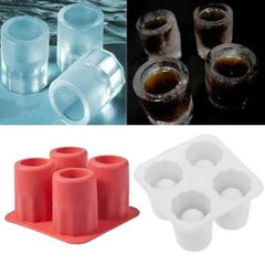 Freeze Mold Bar Bear Tool Cool 4 Cup Shape Rubber Shooters Ice Cube Shot Glass Hot New Bar Party Drink Ice Tray Cool Shape Ice