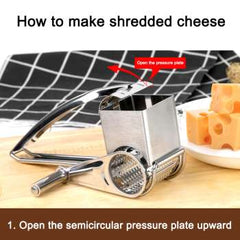 Hand-Cranked Whirling Cheese Grater Kitchen Stainless Steel Cheese Grater Hand Crank Rotary Blades Vegetable Grinder