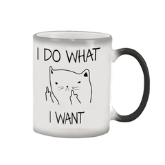 I DO WHAT,I WANT Heat Sensitive Hot Cold Color Changing Cup 350ml Coffee Tea Milk Mug Novelty Gifts