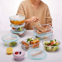 Korean style Lunch Box Glass Microwave Bento Box Food Storage Box school food containers with compartments for kids