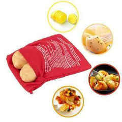 Red Washable Cooker Bag Microwave Potatoes Corns Bread Baking Bag Pocket Reusable Easy To Cook Steam Kitchen Gadget Baking Tool