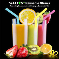 Set Reusable Silicone Straws Set Extra Long Flexible Straws Bar accessories with Cleaning Brushes Bag