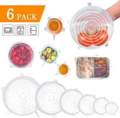 Silicone Stretch Lids Kit 6-Pack Silicone Stretch Lids Set 6-Pack of Various Sizes Reusable Durable and Expandable Food Storage Covers Fit Various Size and Shape