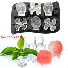 Skull Ice Maker Mold Bones Ball Tray Cake Candy Tools Kitchen Gadgets 4 6 Grid 3D Silicone Whiskey Ice Ball Mold
