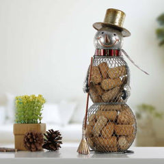 TOOARTS Snowman Cork Container Metal Handcrafts Home Decoration Practical Crafts Christmas Gift Table Decoration Craft Iron Art
