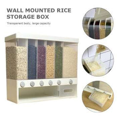 Wall Mounted Press Cereals Dispenser Dry Food Hanger Kitchen Storage Organize Household Dry Rice Food Container Organizer 10KG