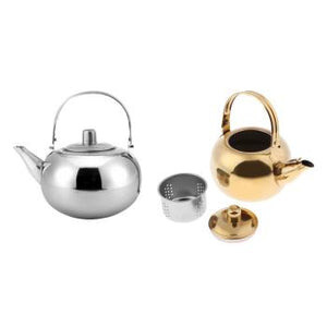 1000ml / 1500ml / 2000ml / 2500ml Durable Outdoor Camping Stainless Steel Tea Kettle Watersport Silver/ Gold
