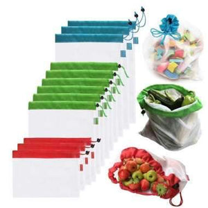 15pcs 3 Sizes Reusable Mesh Produce Bag Washable Eco-Friendly Bags for Grocery Bag Holder Fruit Vegetable Organizer Pouch