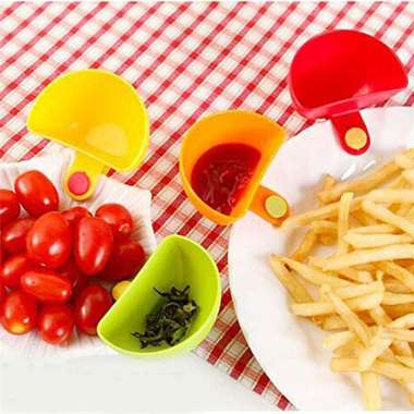4PC/Set Dip Clips Bowl Kitchen Accessories Small Dishes Spice Clip For Tomato Sauce Salt Vinegar Sugar Flavor Spices