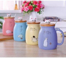 Color Cartoon Milk Coffee Ceramic Mug With Lid Spoon Cup Cute Cat Heat-resistant Cup Kitten Children Cup Office Gifts