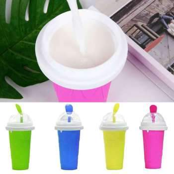 Durable Slushy Ice Cream Maker Squeeze Peasy Slush Quick Cooling Cup Milkshake Bottles