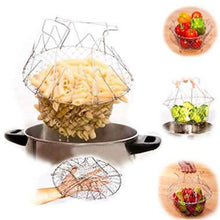 Folding Chef Basket Multifunctional Steam Rinse Strain Magic Mesh Basket Strainer Net Kitchen Cooking Tool 1PC