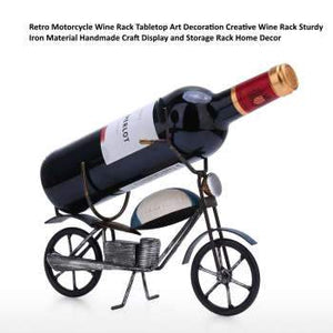 Retro Motorcycle Wine Rack Art Decoration Creative wine holder Iron Handmade Craft Display and Storage Rack Home Decor