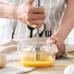 Semi-automatic Mixer Egg Beater Manual Self Turning Stainless Steel Whisk Hand Blender Egg Cream Stirring Kitchen Tools