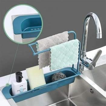 Telescopic Sink Storage Rack Telescopic Sink Rack Holder Expandable Storage Drain Basket Kitchen Household Adjustment Drain