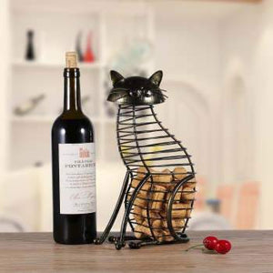 Tooarts Cat Barware Wine Cork Container Bar Accessories Iron Craft Modern Home Decor Gift Handicraft Metal Animal Ornament