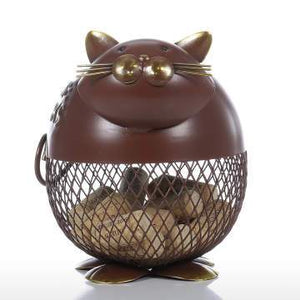 Tooarts Lovely Fat Puffy Cat Wine Cork Container Ornament Storage Jar Box Organizer Home Decor Metal Sculpture Animal Craft Gift