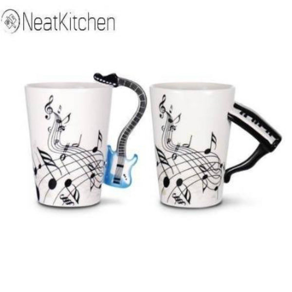 Creative Guitar Ceramic Mug Travel Coffee Mug Portable Mugs And Cups For Tea And Coffee Music Mug With Handle