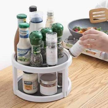 Tray Round Shelf 2 Tier Rotating Organizer Spice Rack Pantry Cabinet Turntable Condiment Storage Rack Kitchen Storage