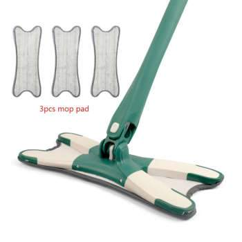 X-type Floor Mop with 3pcs Reusable Microfiber Pads 360 Degree Flat Mop for Home Replace Hand-free Wash Household Cleaning Tools